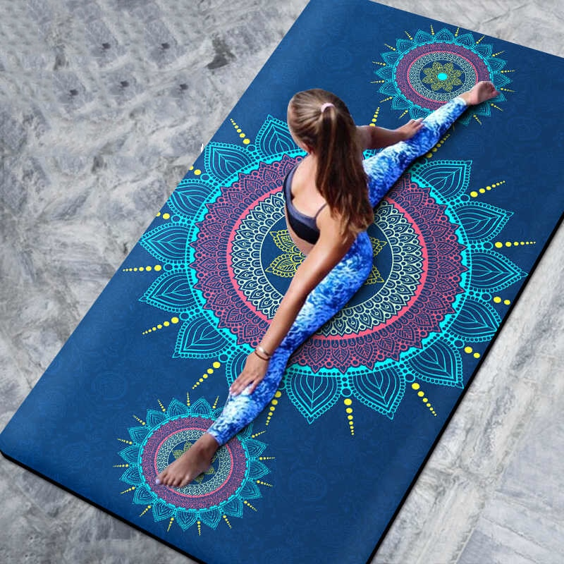 66 CM/80 CM Natural TPE esterillas de Yoga antideslizantes manta de Yoga colchoneta plegable de Fitness de alta temperatura de gamuza de viaje de impresión
