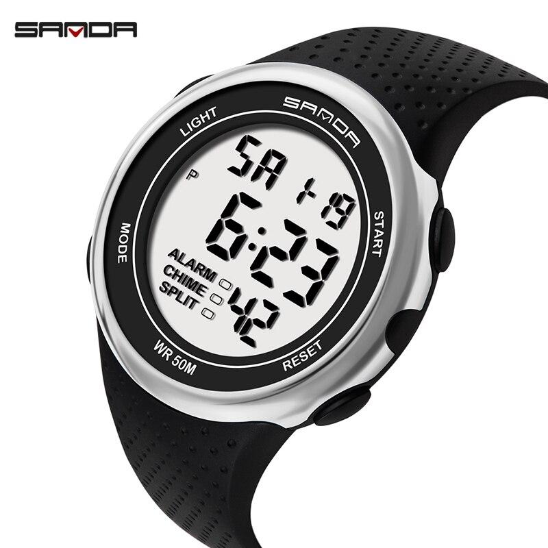 SANDA relojes digitales deportivos para hombre, reloj de pulsera a prueba de golpes, a prueba de agua, luminoso, cronógrafo