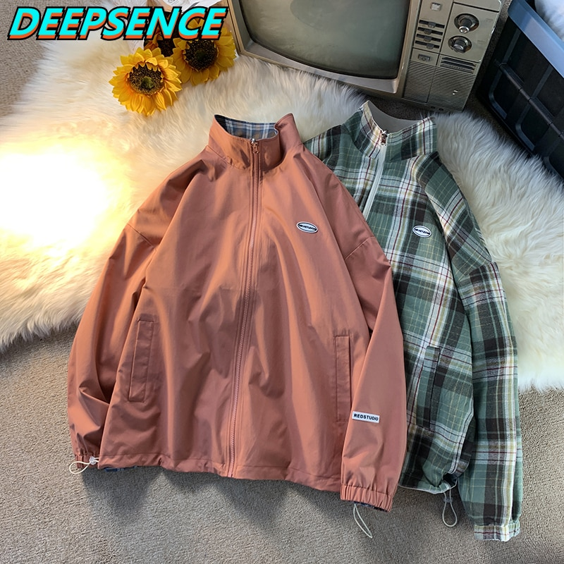 2021 New Coat Spring Autumn Casual Stand Jacket Men Korean Reversible Plaid Fashion All Match Loose