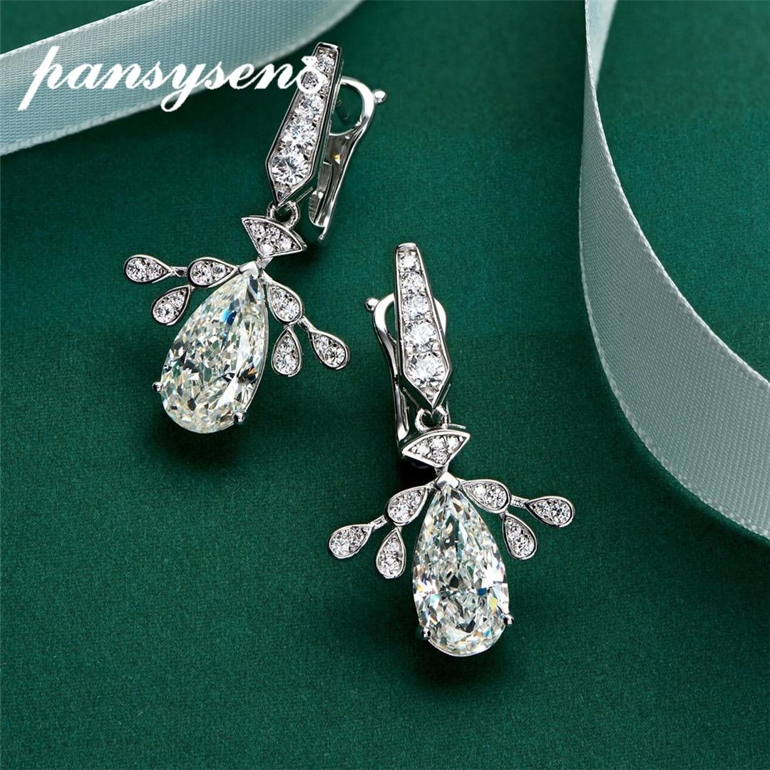 PANSYSEN 100% 925 فضة متألقة مكون مويسانيتي الماس الأحجار الكريمة قطرة الأقراط للنساء المشاركة غرامة مجوهرات