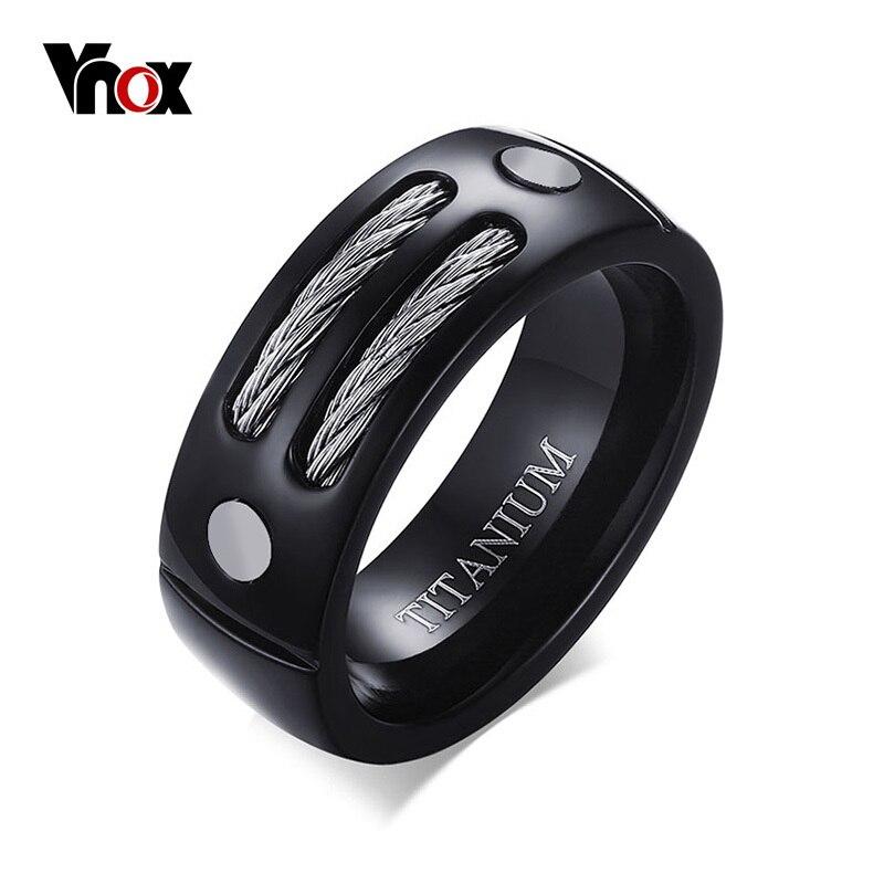 VNOX elegante negro 100% anillo de titanio para hombres 8MM hecho Anillos Masculinos con Huia WIA diseño