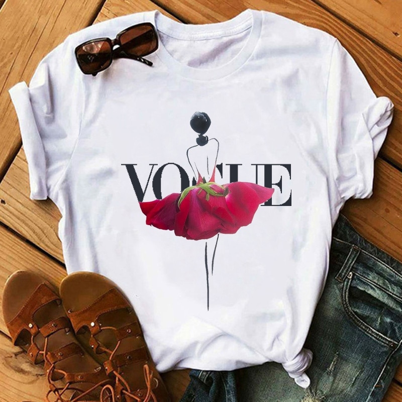 TShirts Maycaur New Vogue Moda Feminina Dancer Ballet Gráfico Impressão Tshirts Tshirts Flor Casual Tops Tees Feminino Camisas Mujer
