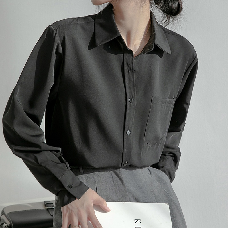 Hf2a7465ddde34257aaa73d35e4784780X - Spring / Autumn Turn-Down Collar Long Sleeves Solid Pocket Blouse