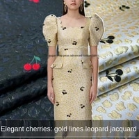 cheery gold silk three dimensional leopard print yarn dyed jacquard fabric sewing fabric factory shop is not out of stock