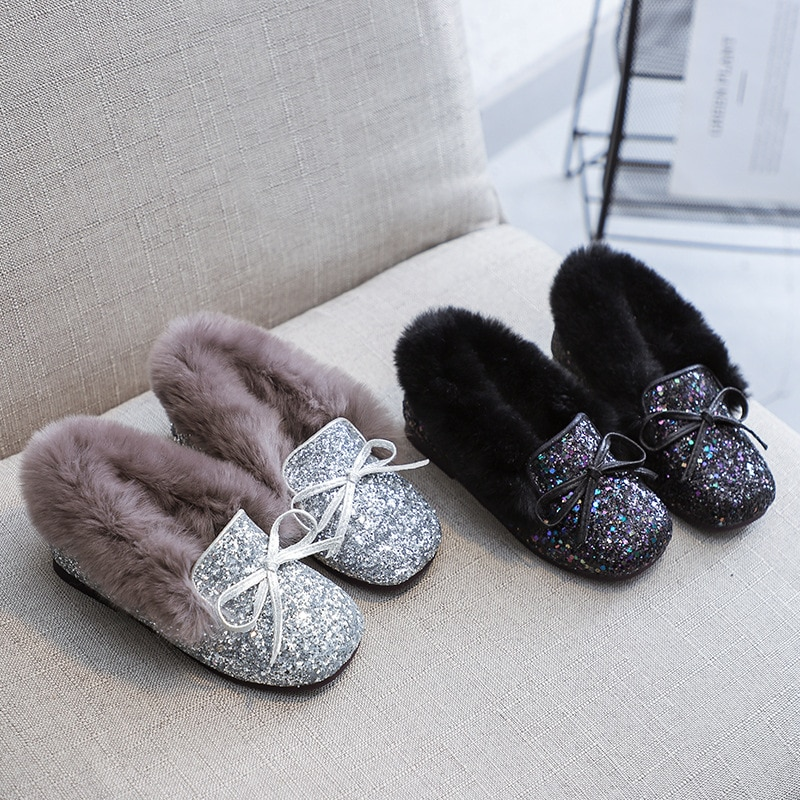 فرو الأرنب الصناعي الفتاة حذاء مسطح موضة الترتر المخملية رقيق حذاء كاجوال مسطح دافئ