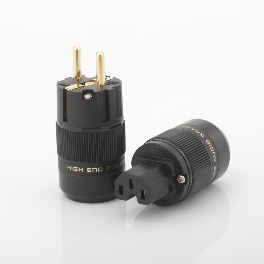 High Quality Schuko Power Plug EU Plug Hifi European plug Male Female Power Plug 24K Gold plated Rhodium silver Plated HIFI diy