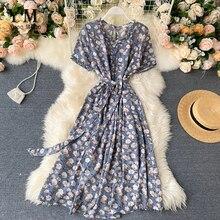 YuooMuoo vestido de verano con estampado de flores para mujer, vestido ajustado de media pierna, vestido elegante Vintage ajustado a la cintura, vestido azul a la moda