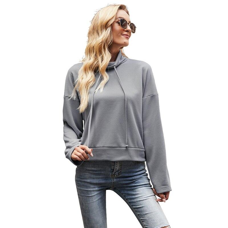 Однотонная водолазка с кулиской пуловер свитшоты женские осенне-зимние Модные свитшоты с длинным рукавом женская уличная одежда 2021 толсто...