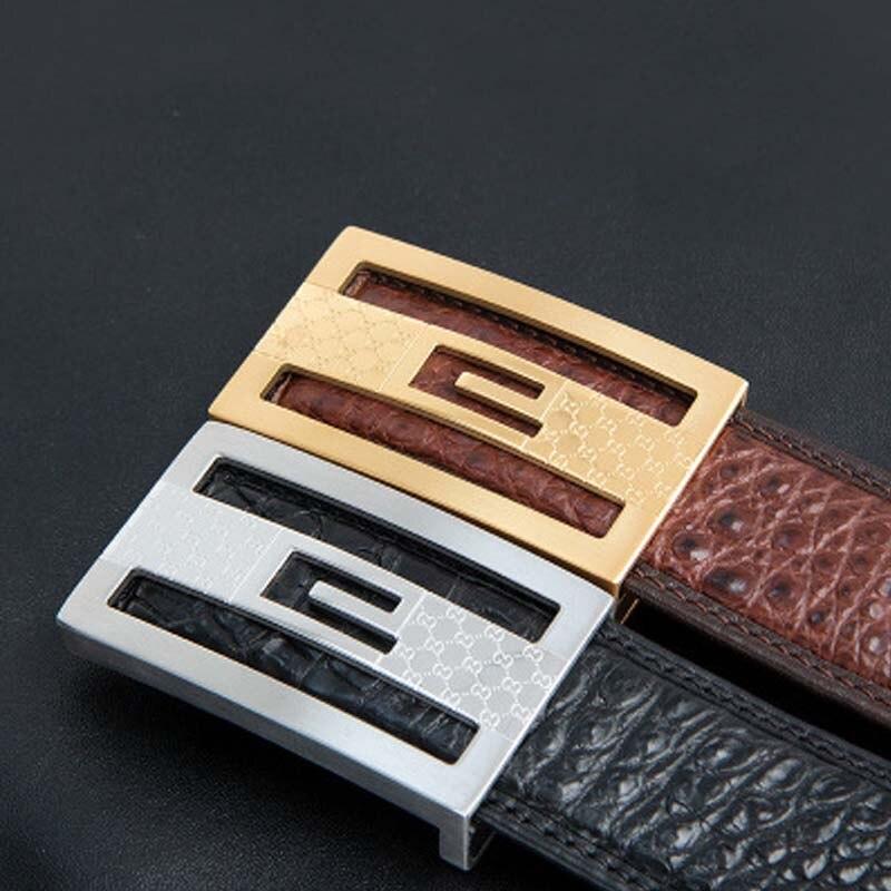 Cinturón de cocodrilo yuee para hombre, venta directa, cuero genuino, hebilla suave, cinturón de hombre para negocios, ocio, cinturón de hombres de alta calidad