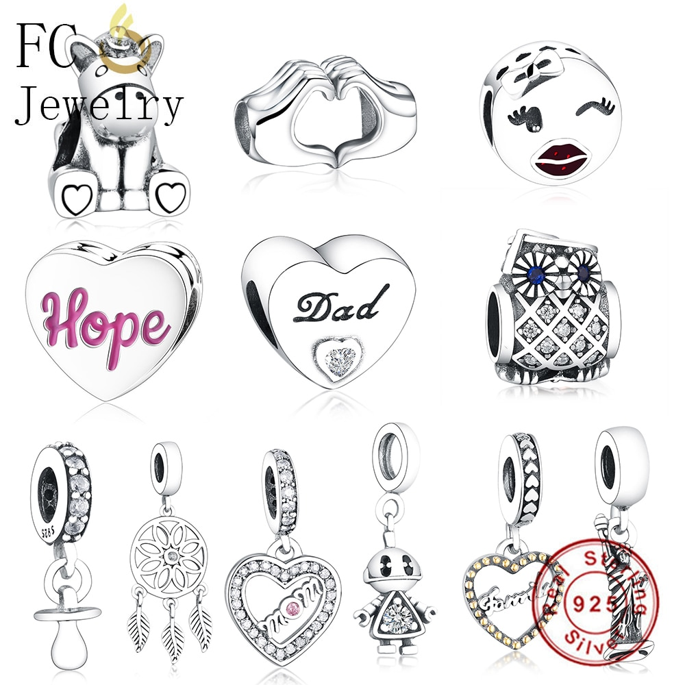 Fc jóias caber marca original charme pulseiras 925 prata esterlina coração carta pai cz contas de pedra fazendo presente do pai berloque