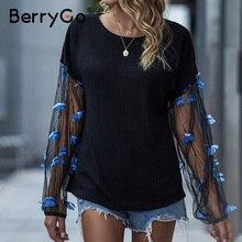 BerryGo otoño negro empalme suéter manga transparente mariposa decorativo suéter vacaciones mujer casual Pullover 2020 nuevo