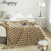 REGINA 3D Illusion Shuriken Plaid Bedspread Cotton Home Decorative Soft Cozy Knitted Bed Flat Sheet