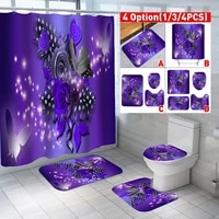 Rideau de douche impermeable imprime fleur violette papillon  couverture de tapis de toilette  ensemble de tapis de bain  rideau de salle de bain 4 pieces