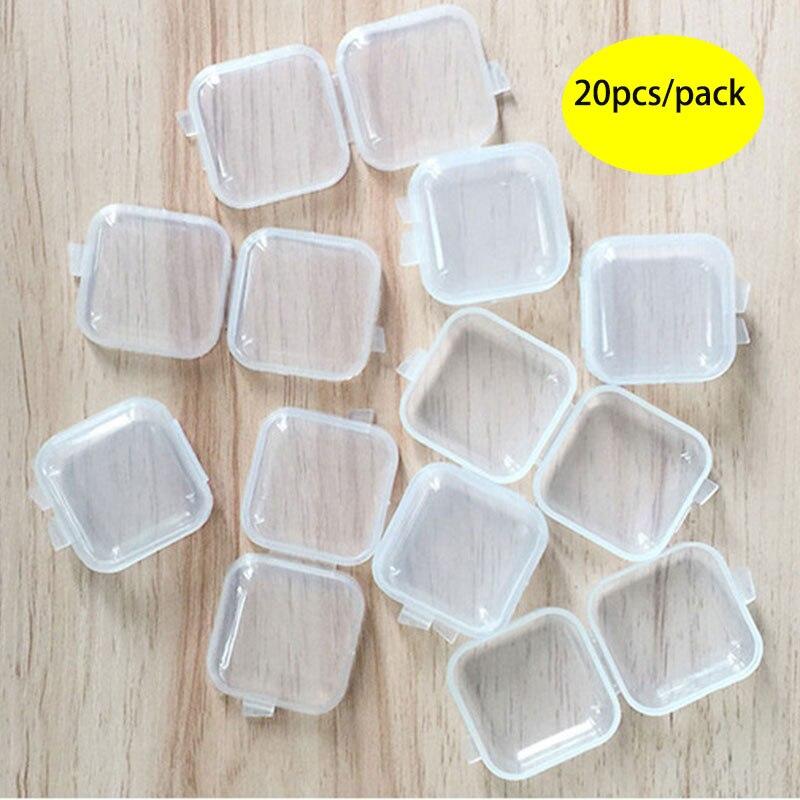 20 pçs/lote 1.37x1.37 polegada mini portátil plástico transparente caixa de armazenamento recipiente para jóias tampões de ouvido medicina artesanato diy