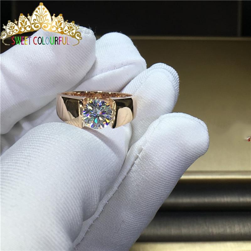 100% 14K الذهب مويسانيتي الماس رجل خاتم D اللون VVS مع شهادة وطنية MO-002