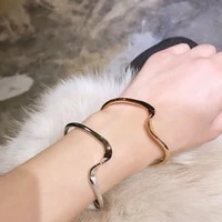 canze women corrugated bracelet japanese korean elegant simple design wave adjustable bracelet jewelry