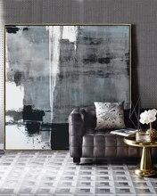 Негабаритная Минималистичная картина, холст, черно-белая живопись на холсте, оригинальное искусство на холсте, очень большая настенная жив...