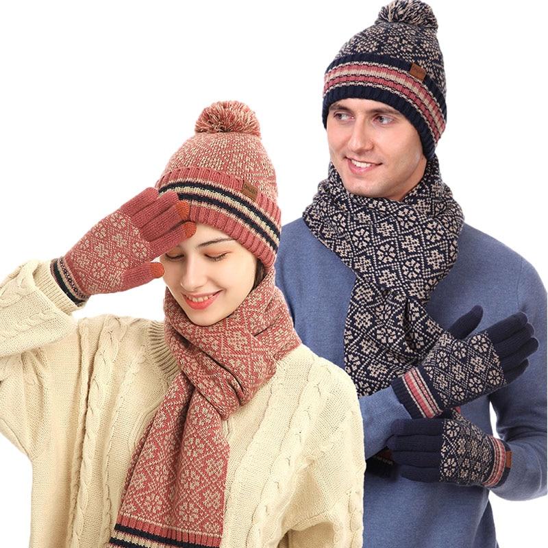Набор из трех предметов: шапка, шарф, перчатки, женская шапка, мягкий мужской шарф, вязаная шапка, теплые варежки, плюшевый шерстяной помпон, ...