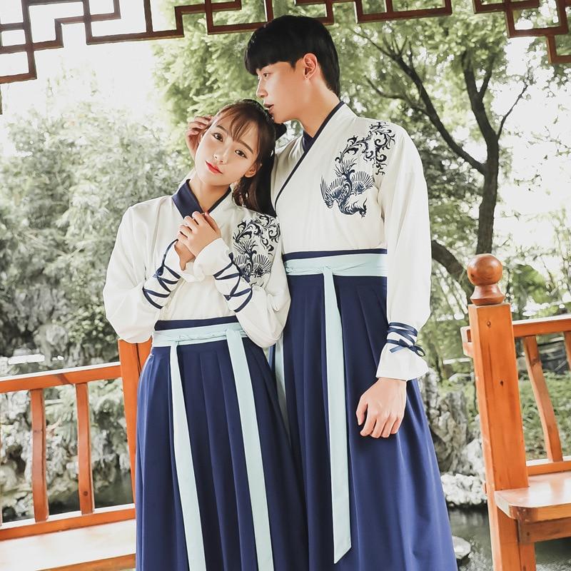 فستان فنغ هان مطرز بياقة متقاطعة ، ملابس نسائية ، نمط عتيق ، غير عتيق ، عنصر هان ، تنورة روسية ، طقم من قطعتين