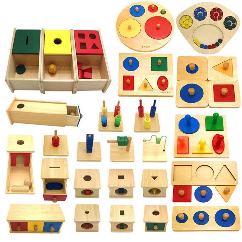 Nuevos juguetes de madera para bebés Montessori, 26 conjuntos de madera, aprendizaje educativo, regalos para bebé