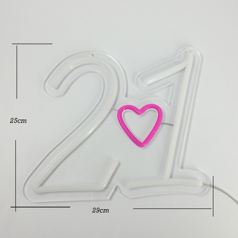 Custom Made Number 21 LED Neon Sign Wall Led Light Party Wedding Shop Window Restaurant Birthday Decoration Personalise enlarge