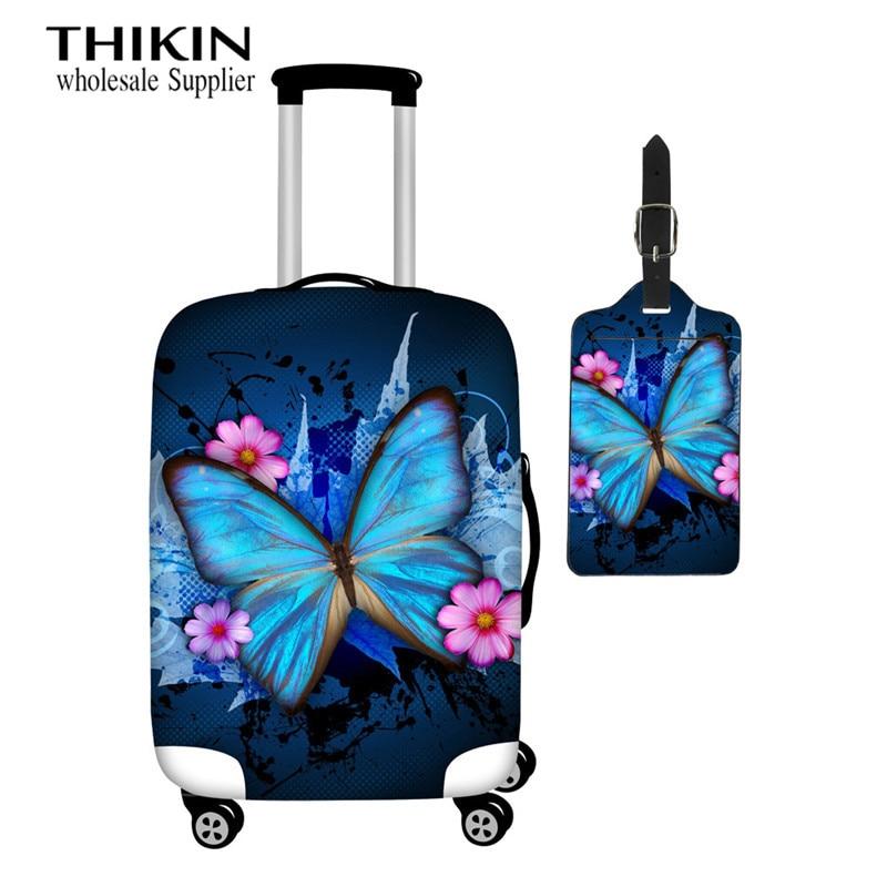 Cubierta protectora de equipaje para chicas THIKIN, estampado de mariposa azul, cubierta de carrito a la moda, cubierta antipolvo para maleta de mujer, 18-30 pulgadas