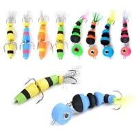4x fishing soft lure foam swimbait floating jig pike artificial insect bait three anchor string treble hook perch blackfish