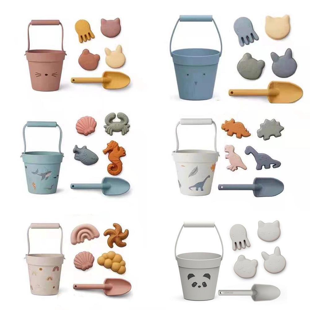 Силиконовые детские пляжные игрушки, 6 шт. в комплекте, детский летний песочный инструмент для копания с лопатой, водная игра, набор игрушек ...