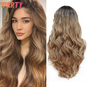 Honey Blonde Synthetic Wig Long Wavy Colored Wigs For Women Heat Resistant Fiber Hair Daily Use Party Cosplay Wig IPARTY 26inch