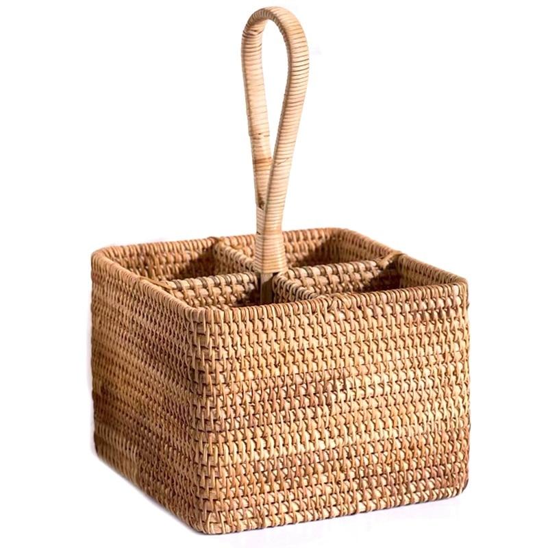 صفقة كبيرة اليد سلة مغزولة القش سلة التخزين المحمولة أربعة مقصورة تصنيف تخزين سلة فاكهة تخزين المنزل C