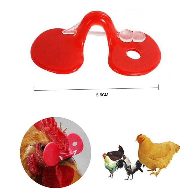 10 pçs plástico vermelho olhos de frango óculos gado fazenda olhos capa evitar frango bicar