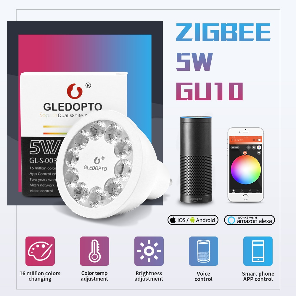 Zigbee AC100-240V Double Blanc RGBCCT 5W GU10 LED Projecteur Travail avec Smartthings Tuya Conbee Alexa Echo Et Commande Vocale