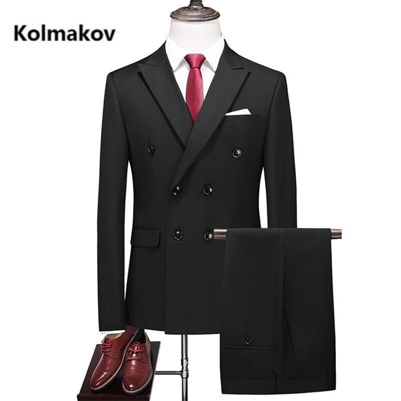 2020 new arrival fashion Double breasted suits men,high quality Slim fit men's Wedding Suit men 8 colors size M-5XL,6XL