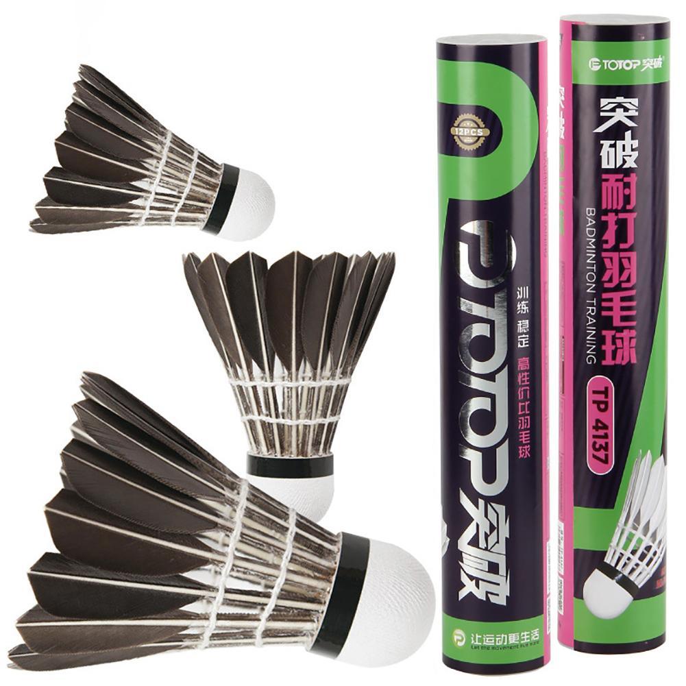 12 pçs ptotop grau superior pena de ganso preto peteca badminton peteca pena ganso peteca para treinamento tp4137