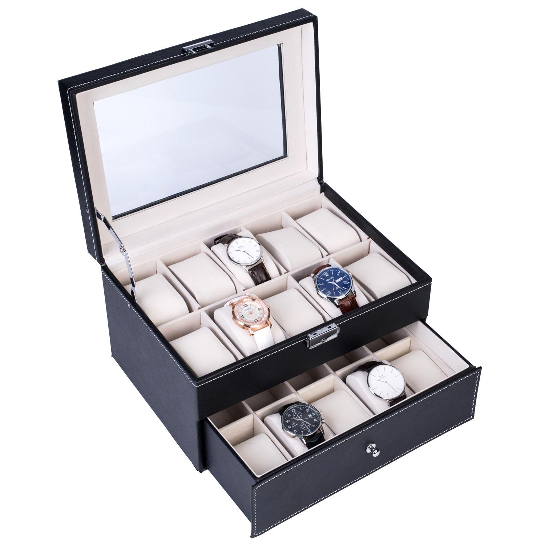20 cajas de almacenamiento de relojes Gird capas dobles reloj elegante estuche de exposición horquilla bloqueable gemelos broches caja organizadora