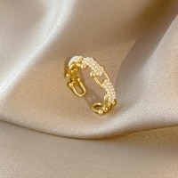 minar minimalist imitation pearls u shape rings for women gold color brass hollow horseshoe buckle open adjusting ring jewellery