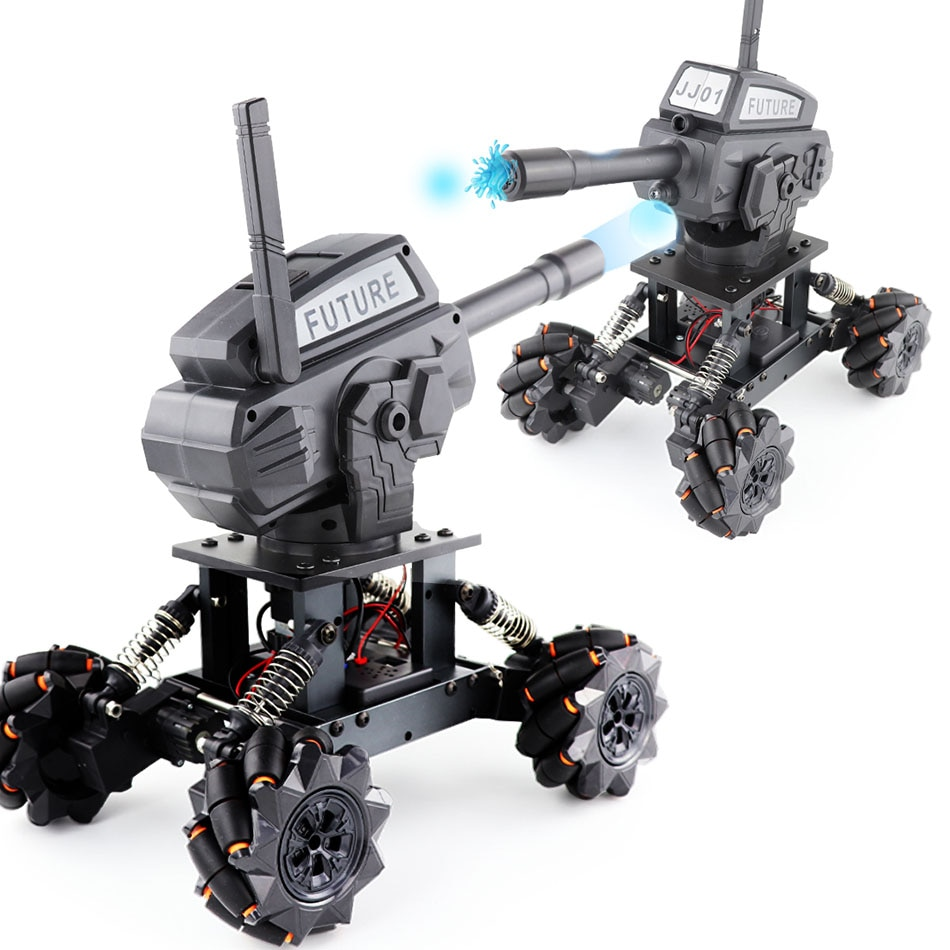 RC Tank Programming DIY 4WD Tanks Toy With Launch Water Bomb Off-road Climbing Remote Control Mech Driving For Children Toys enlarge