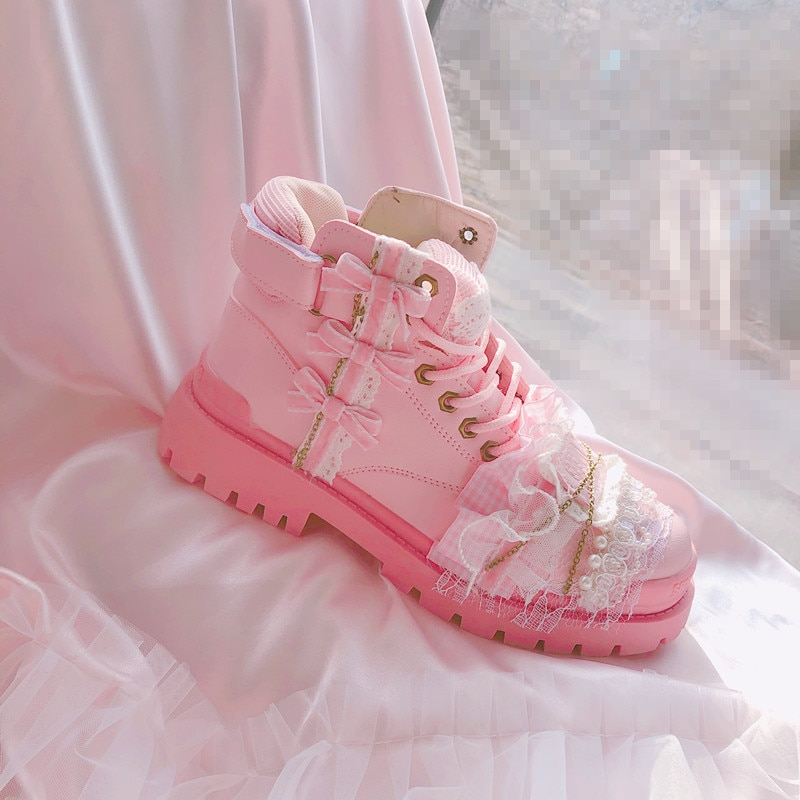 2021 spring women's boots Thick Soled Height Increasing Martin Boots Sweet College Girl pink Casual Shoes woman Lolita Style