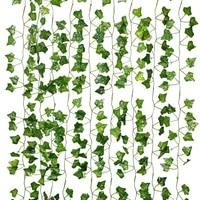 Zerolife     guirlande de feuilles artificielles  2M  fausse feuille verte  vigne de lierre  plante artificielle  decoration murale  mariage  maison  jardin