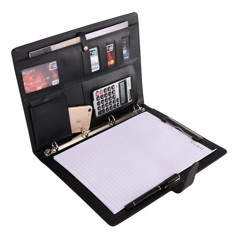 A4 multifunción Carpeta de archivo reunión de negocios de hoja suelta Calculadora de Cable de carga de administrador de almacenamiento de carpeta de almacenamiento de oficina