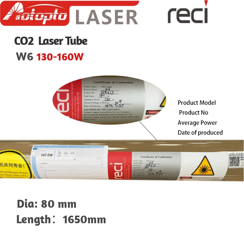 RECI CO2 Laser Tube W6 130W Glass Laser Pipe Metal Head Length 1650mm For CO2 Laser Engraving Cutting Machine
