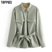 Toppies 2020 vert clair faux cuir veste manteau femmes à lacets ceinture manteau haute rue dames outwear simple boutonnage