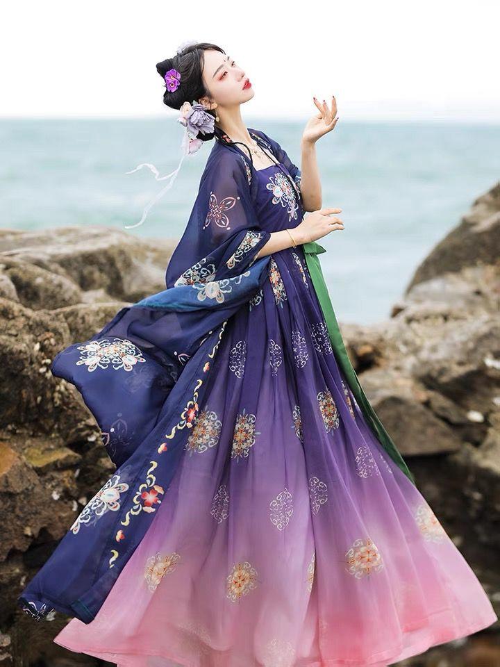 Xinhuaeasy Hanfu المرأة الصينية التقليدية النمط الشعبي الوطني فساتين تشيزي تنورة التدرج تنورة تانغ سلالة الصيف دعوى