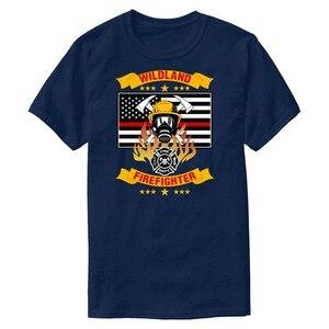 Слоган дикая земля Пожарный Тонкая красная линия коптильня Джемпер футболка для мужчин рубашка для отдыха мужская уличная одежда футболка ...