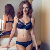 europe and the united states sexy temptation sexy bra set transparent ultra thin gather and close the breast lace underwear bra