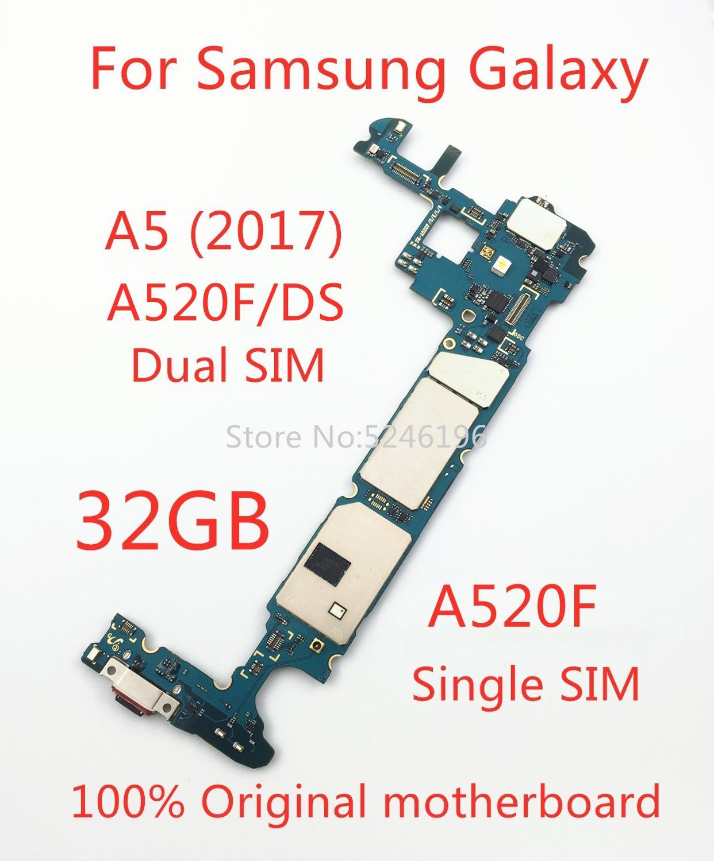 لوحة أم أصلية ، لجهاز Samsung Galaxy A5 2017 A520F/DS 32 جيجابايت ، A5 2017 A520F ، نظام فتح ، لوحة منطقية ، استبدال
