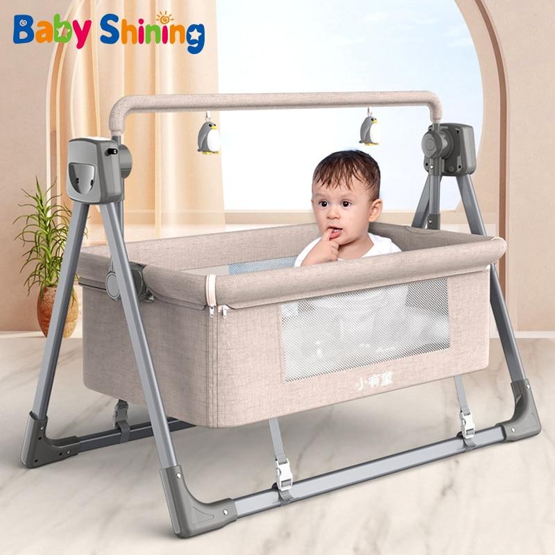 NewbornBaby Multifunctional Electric Cradle Rocking Bed Rocking Chair Newborn Smart Coax Baby Soothing Artifact Sleeping Basket