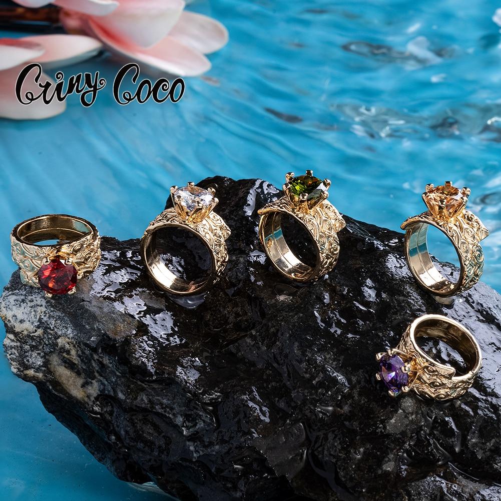 Cring Coco, гавайская медь, кольцо, полинезийское Самоа, фиолетовый CZ камень, парные кольца с бриллиантами, модные Романтические циркониевые укр...