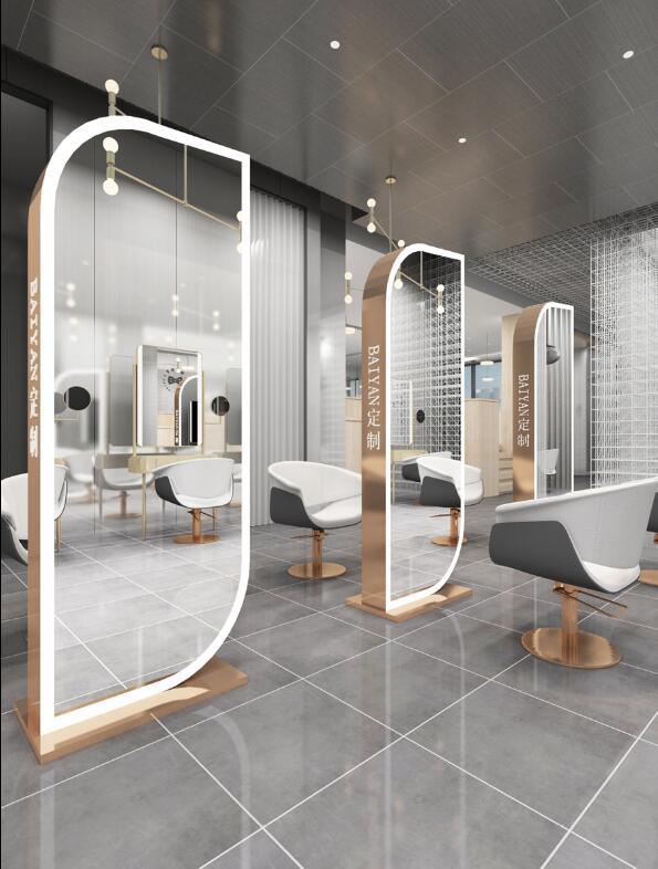 Чистый красный парикмахер магазин зеркало таблицы парикмахерский салон зеркало модный двухсторонний зеркальный шкаф один парикмахерский ...
