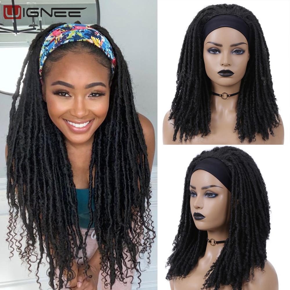 Wignee Long Dreadlock Wig Synthetic Hair Headband Crochet Braid Wig Heat Resistant Black Color Wigs For Black Women/Men In Daily